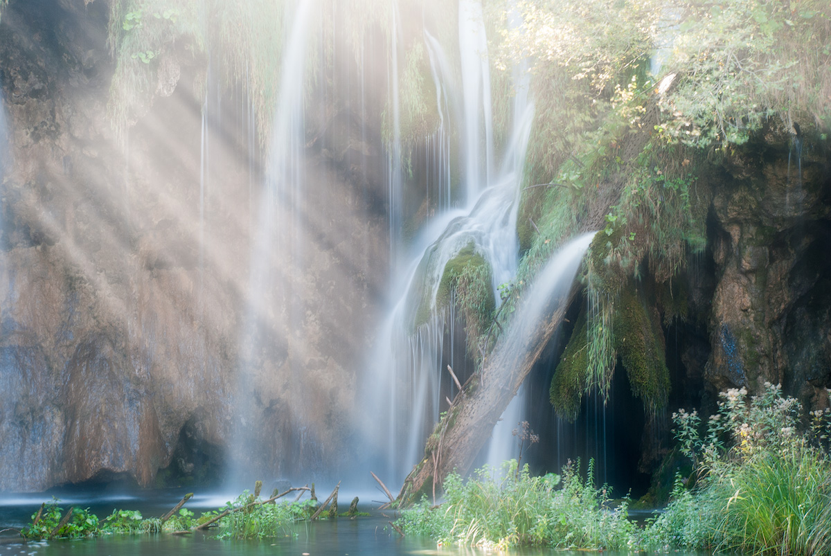 waterfall with light rays