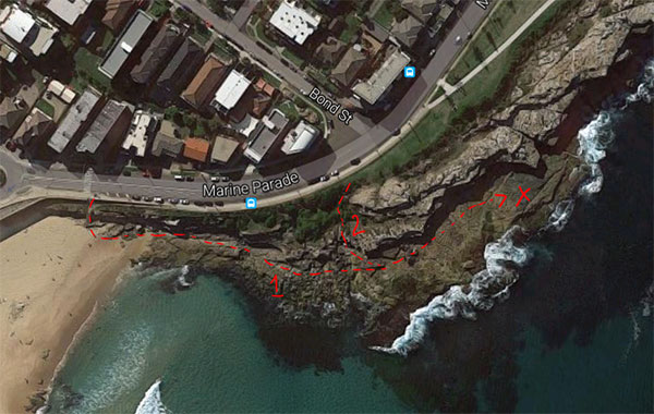 Maroubra beach hidden spot map