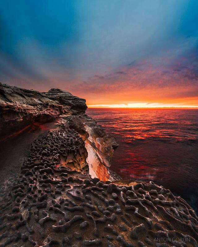 Maroubra Rock Pool Sea Cliff sunrise