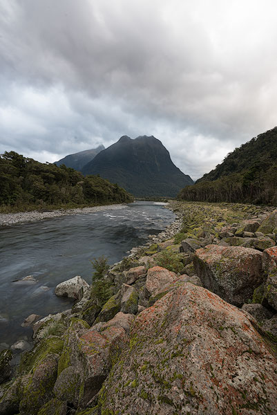 Cloudy mountain landscape with river correctly exposed